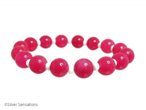 Chunky Hot Fucshia Pink Jade & Brilliant White Beaded Stretch Fashion Bracelet